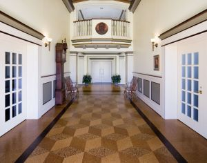 Cork flooring is a great option for a rapidly renewable material that has a similar appearance to wood and includes added benefits such as its natural insect repelling and anti-microbial properties. Lycoming College - Honors Hall