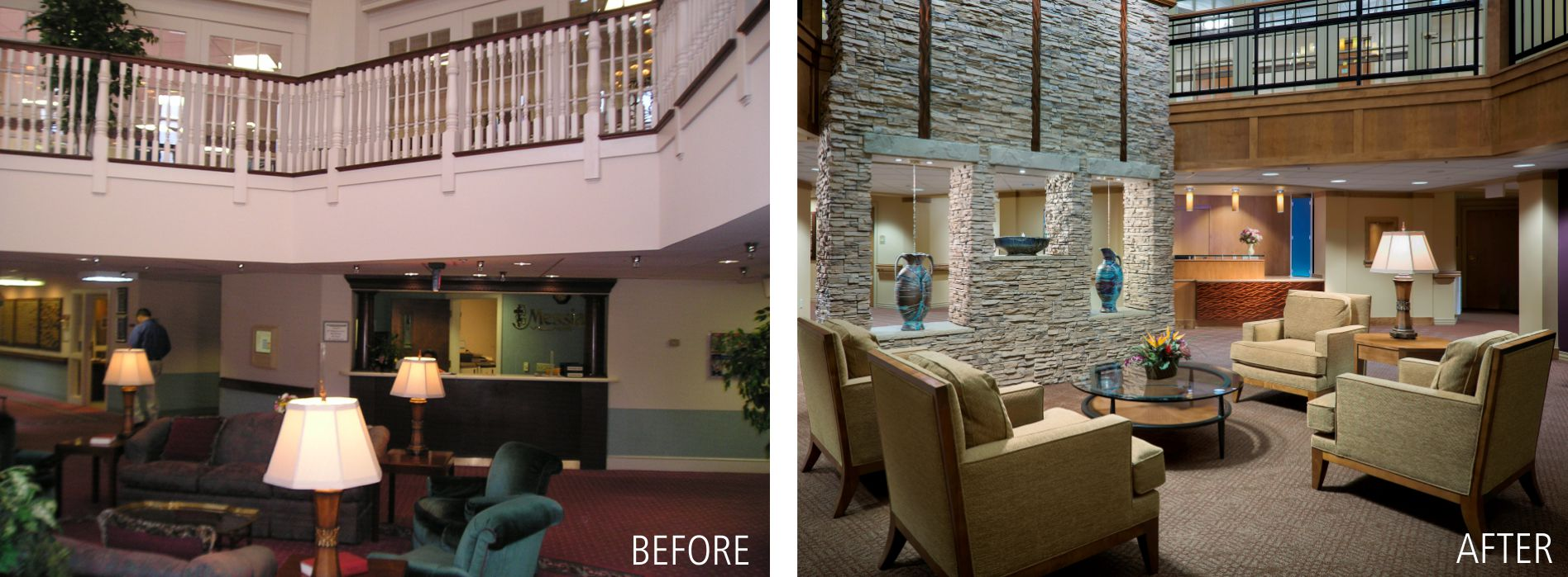 lobby before & after interior design photos