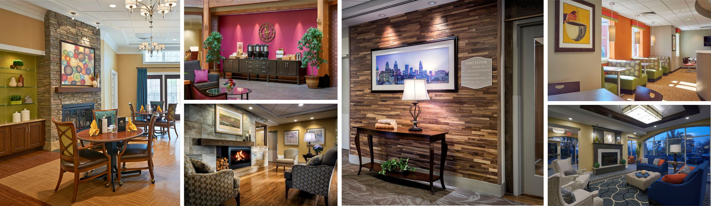 several different photos of different senior living facility designs