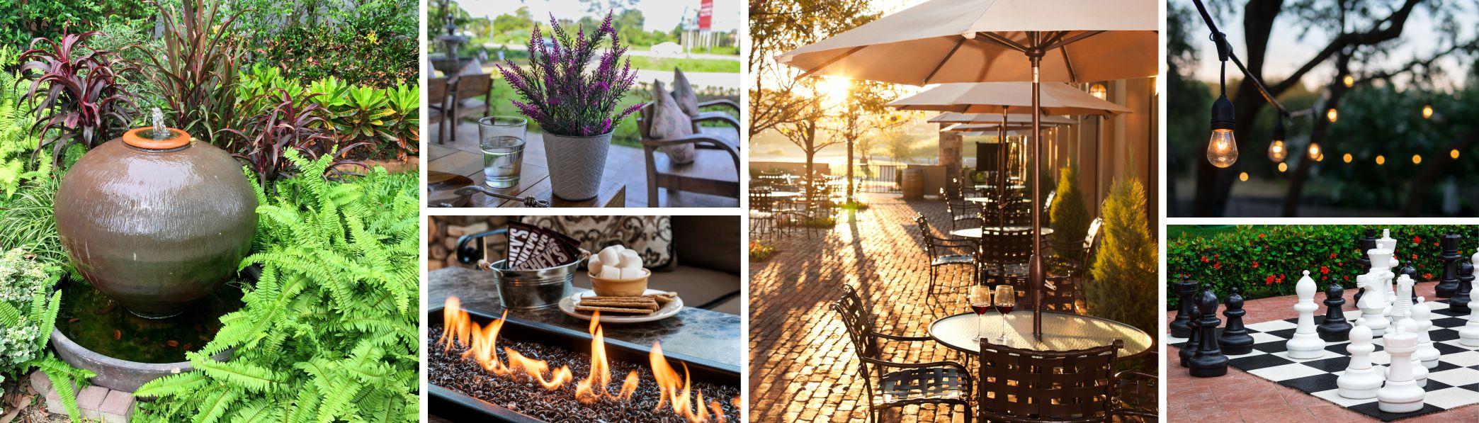 several photos of interior design ideas for outdoor spaces