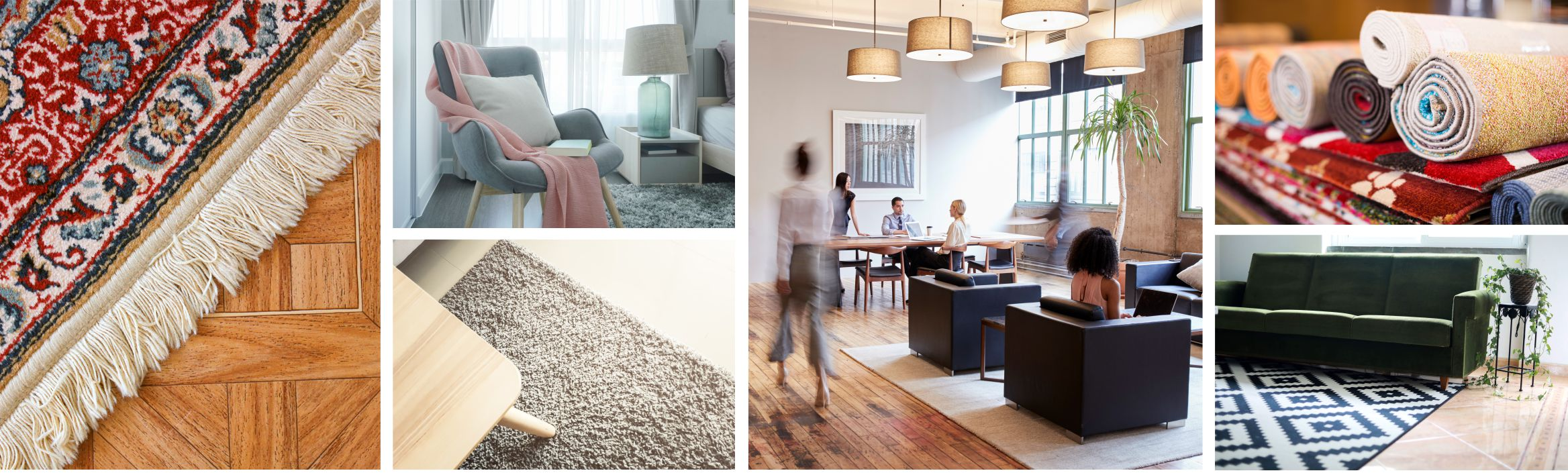 several photos of area rugs in use