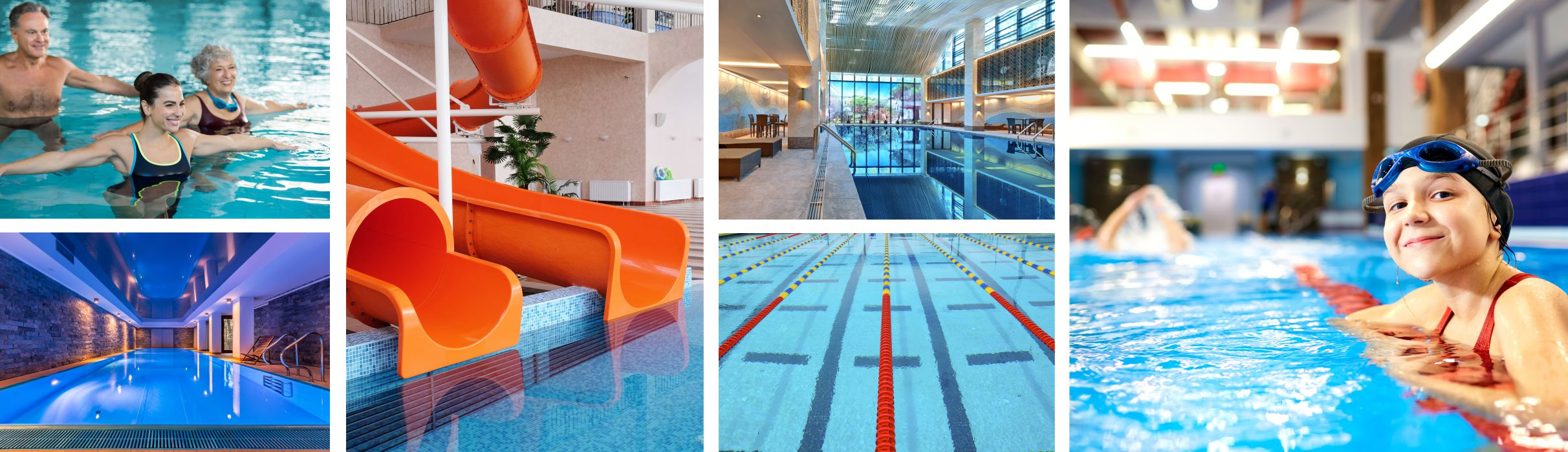 several photos of indoor pools