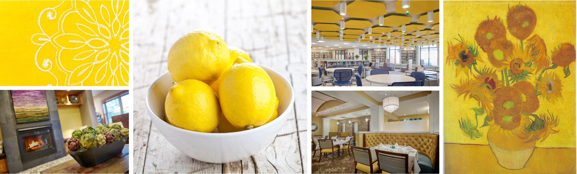 a collage of photos where yellow is the primary theme