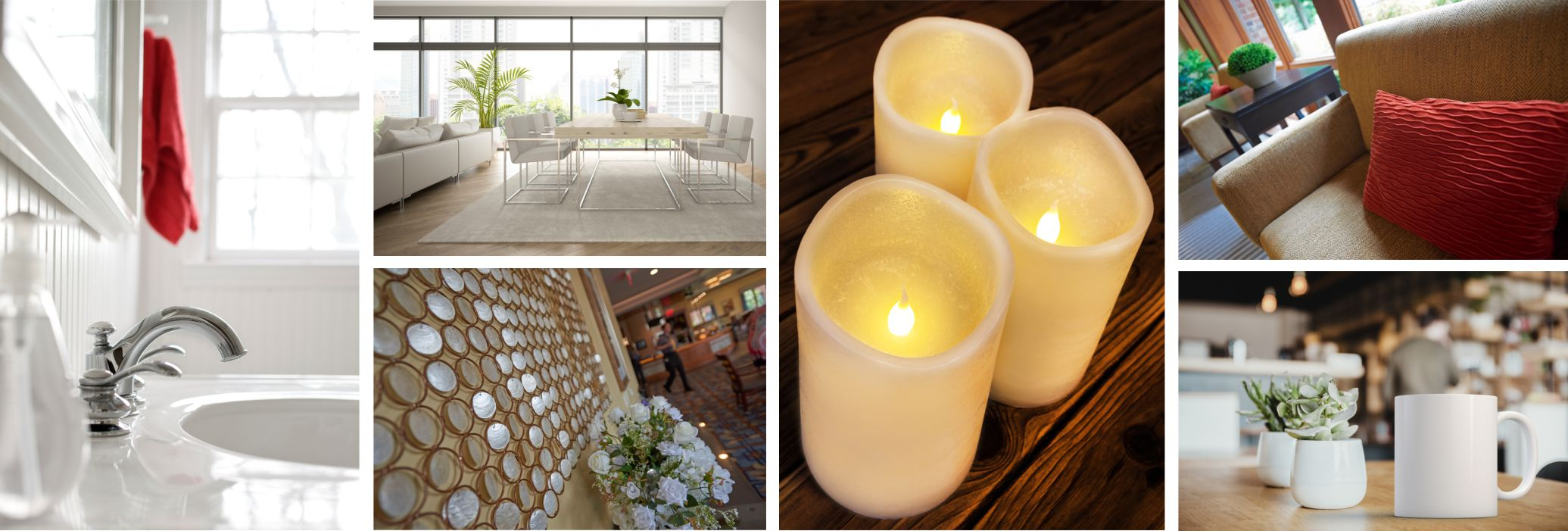 various photos with white or light color themes