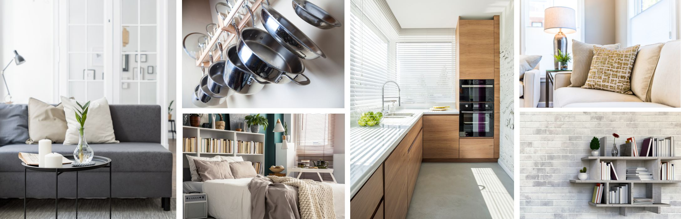 collage of ideas for small spaces