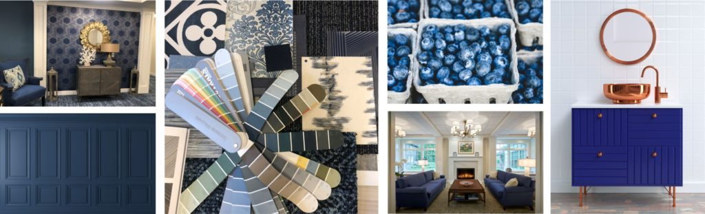 various images from around the home with blue elements