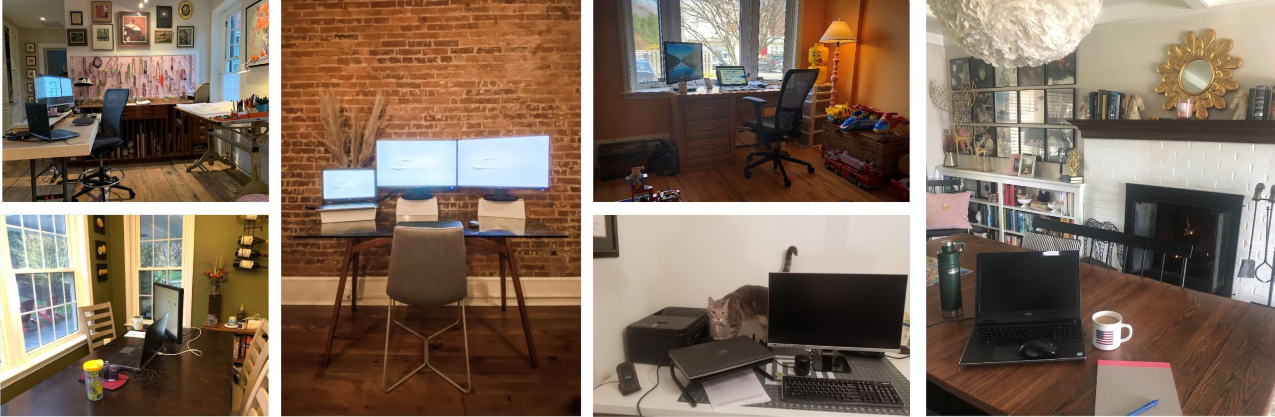 a collage of various home office workspaces