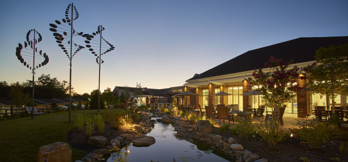 meadowood courtyard water feature at dusk