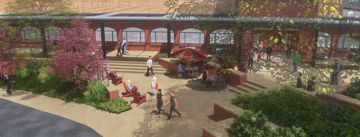 a 3d rendering of a patio outside a campus career center