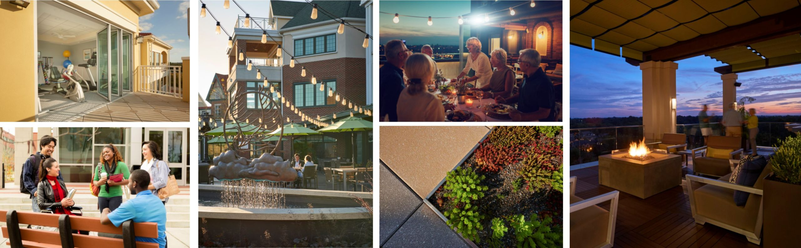 various outdoor spaces in a collage