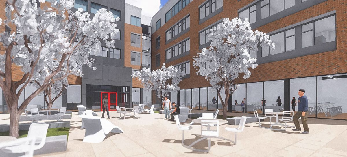 design trends for outdoor spaces are also evident on college campuses
