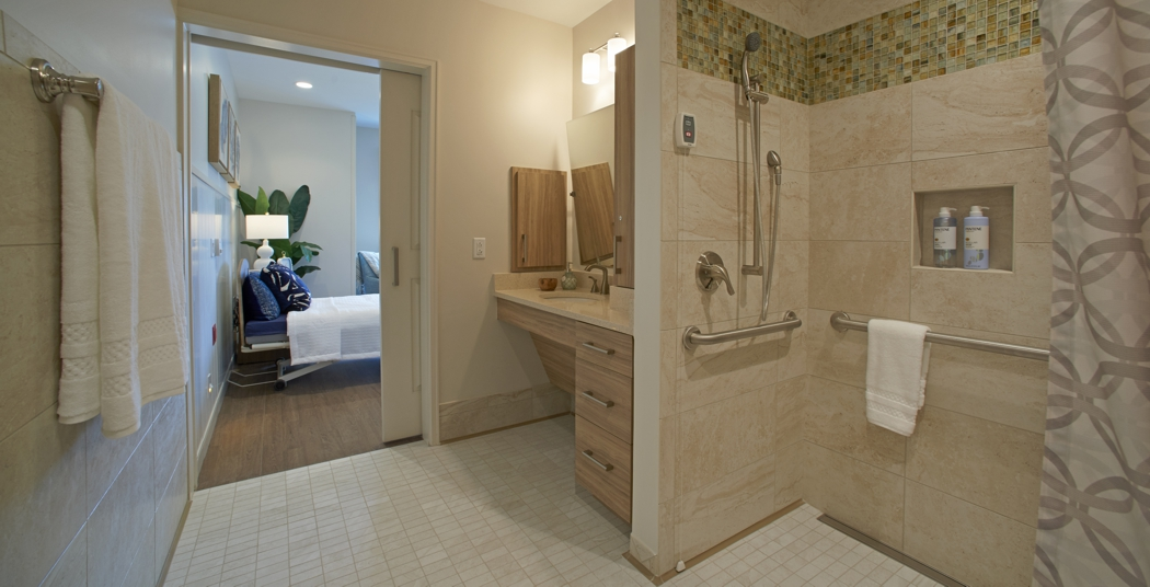 Grab bars in an accessible bathroom shower