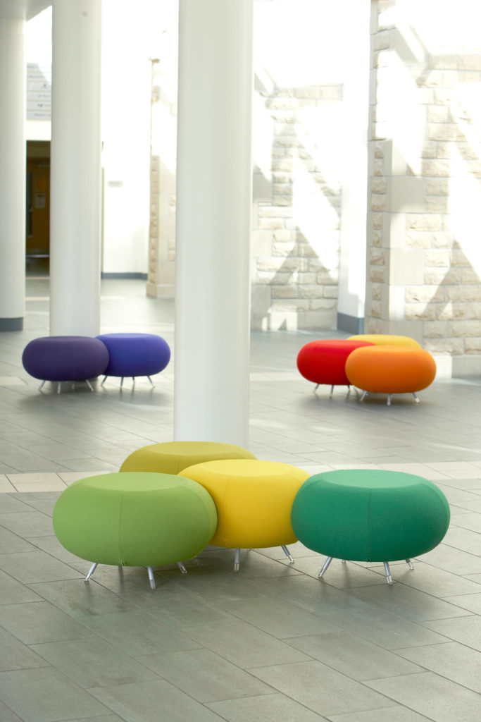 """Colorful """"Pebble"""" stools from Allermuir"""