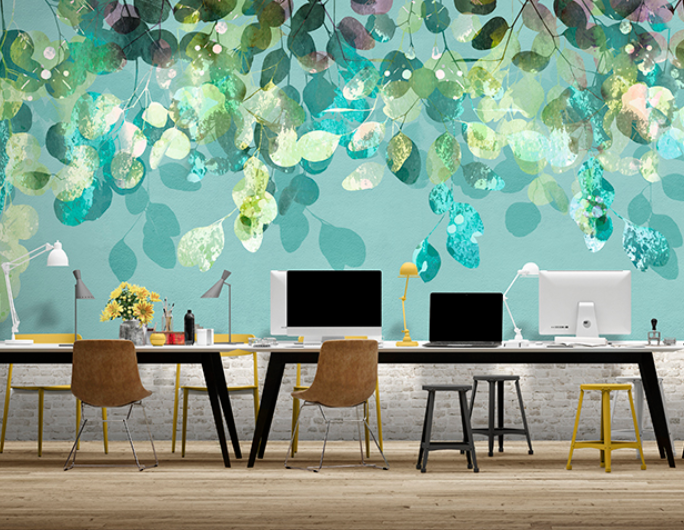 Digital wallcoverings simulating nature in an office
