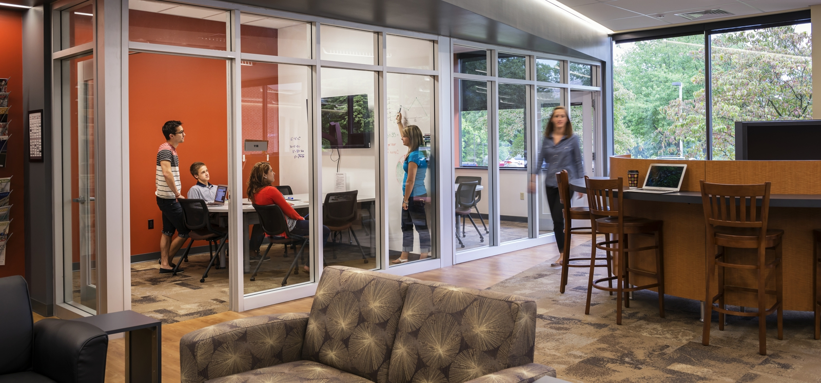 Clear partition meeting rooms at Messiah University Murray Library