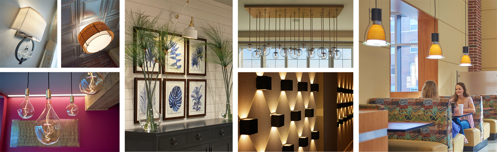collage of various interior lighting samples