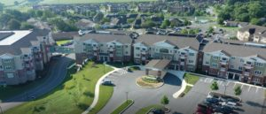 Drone View of Landis Homes Community Crossings Apartments and Learning and Wellness Center in foreground