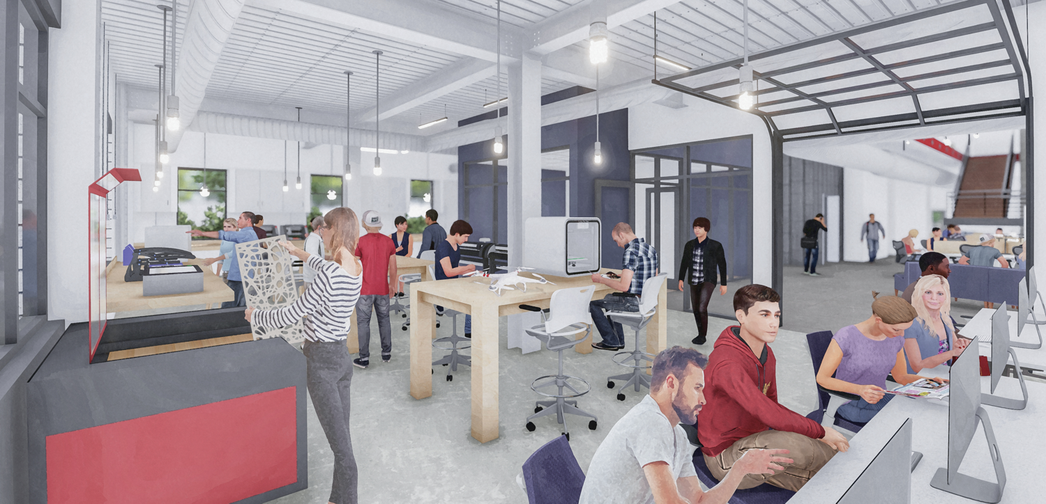 Entrepreneurship program spaces including a diverse mix of maker spaces, think take or incubator zones, co-working offices and private work areas