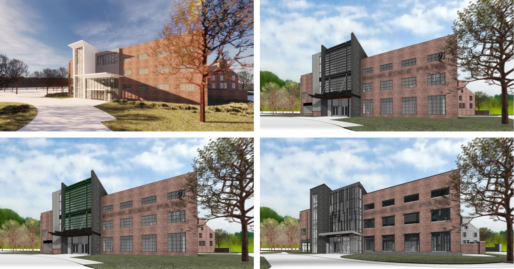 design rendering studies of campus building facade